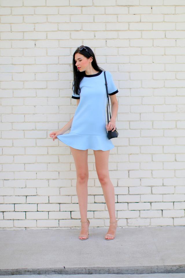 TSW Addison Drop Waist Dress in Powder Blue