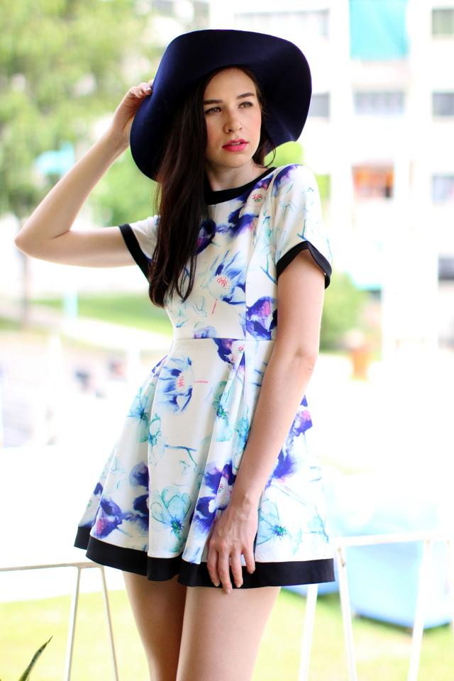 TSW Watercolour Neoprene Sleeve Dress in Purple Mix Floral