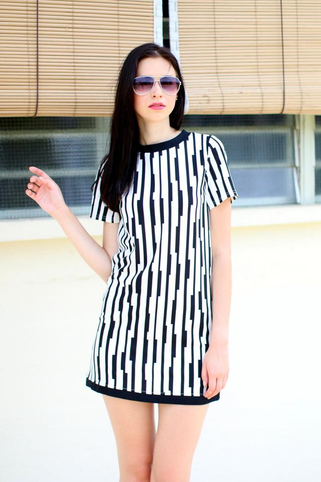 TSW Sheila Contrast Shift Dress in Monochrome (XS)