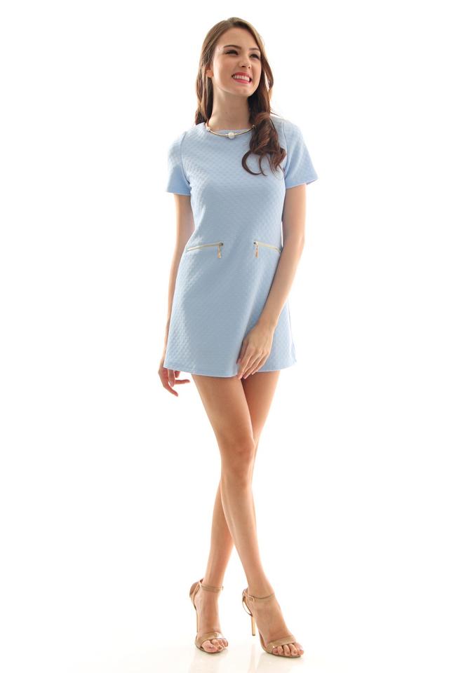 TSW Duchess Textured Shift Dress in Powder Blue (XL)