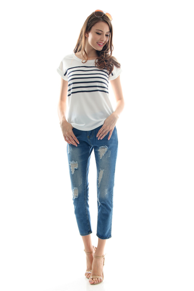 TSW Ahoy Sailor Top in White (L)