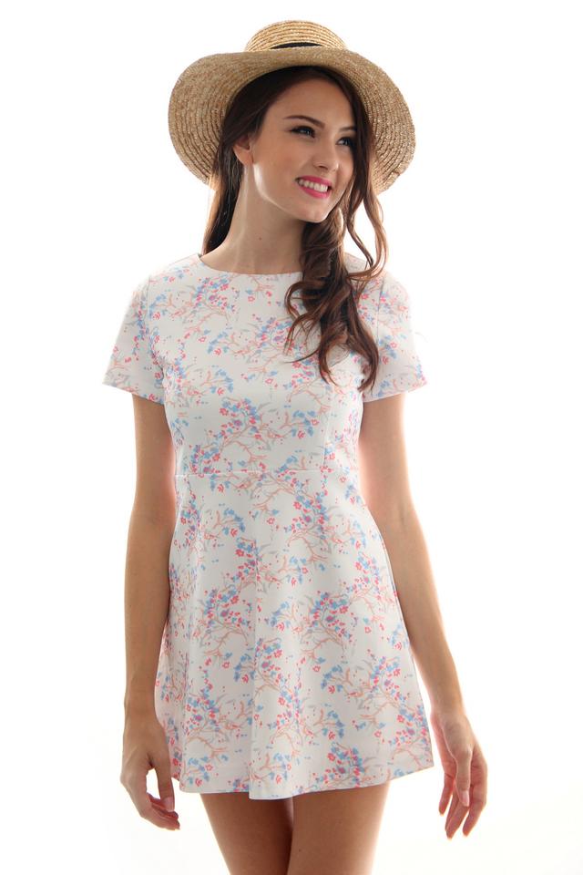 TSW Aloha Sleeve Neoprene Dress in Periwinkle (L)
