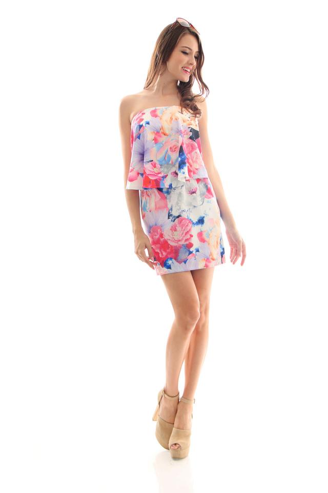 TSW Bronwen Flutter Tube Dress in Floral Mauve (M)