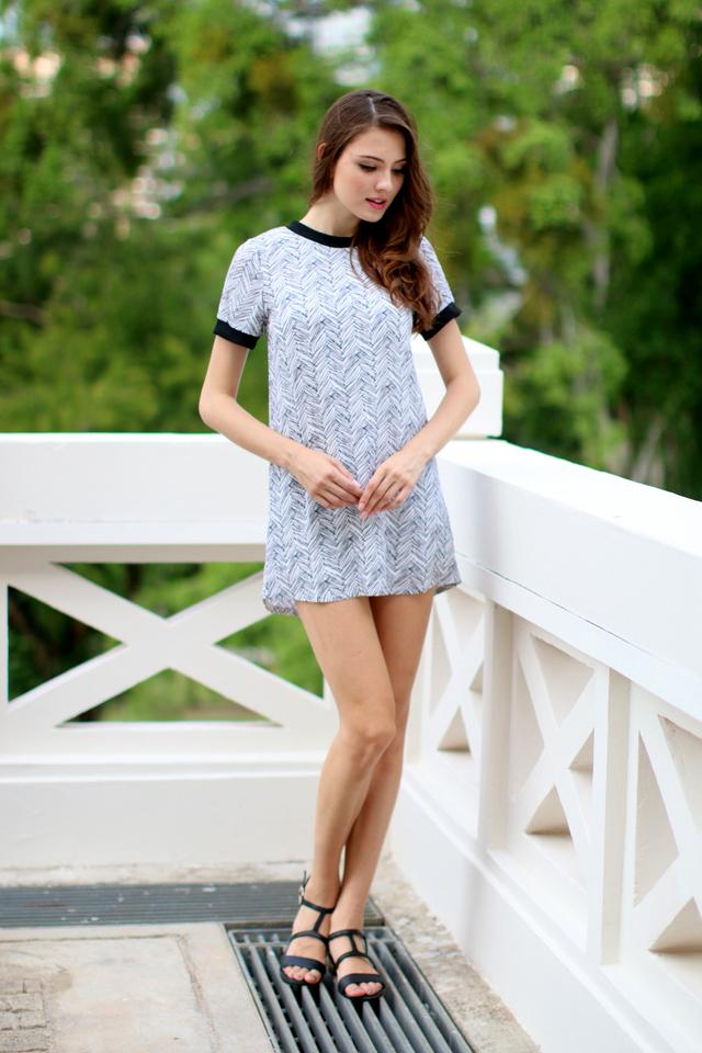 TSW Breezy Contrast Shift Dress in White