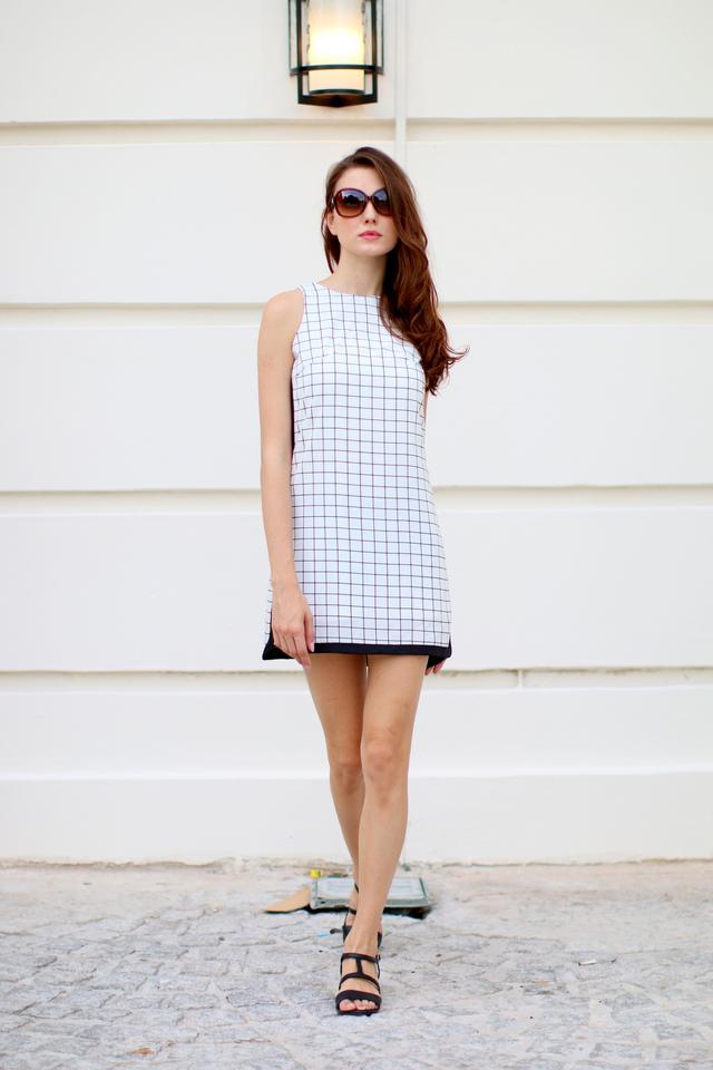 TSW Tic Tac Toe Frame Dress In Gridd (XL)