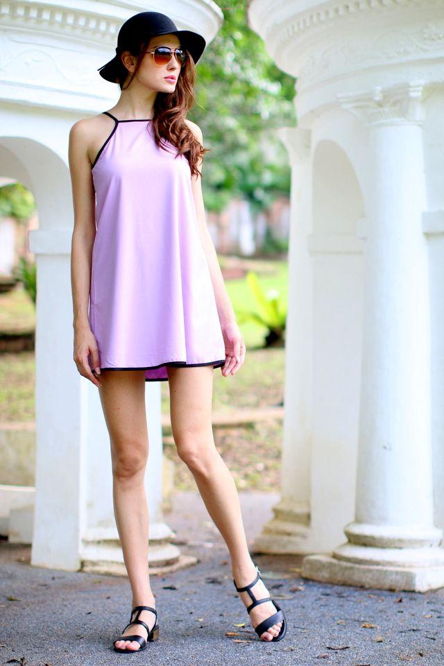 TSW Kairos Contrast Swing Dress in Lilac (L)