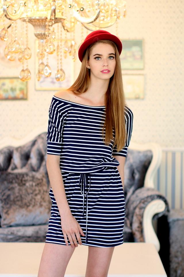 TSW River Creek Jersey Dress in Breton Stripes (XL)