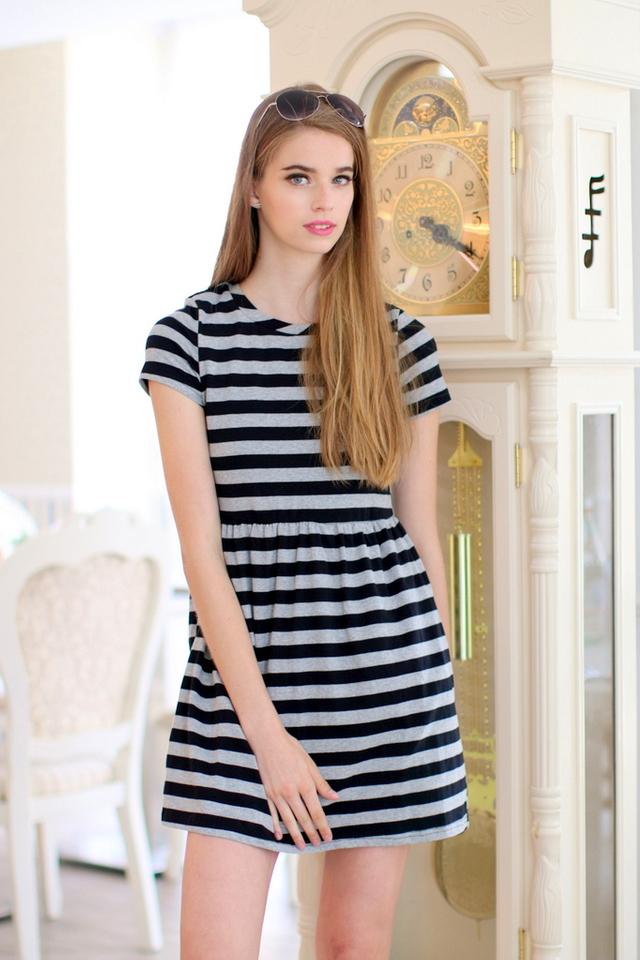 TSW Wildest Dreams Striped Babydoll Dress in Grey/Black (L)