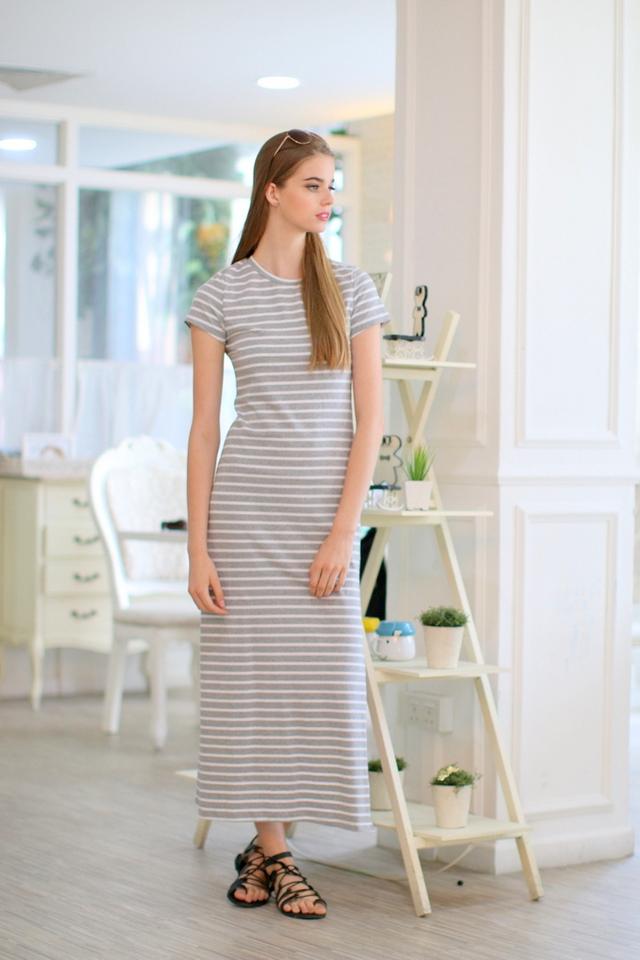 TSW Enchanted Jersey Slit Maxi Dress in Stripes