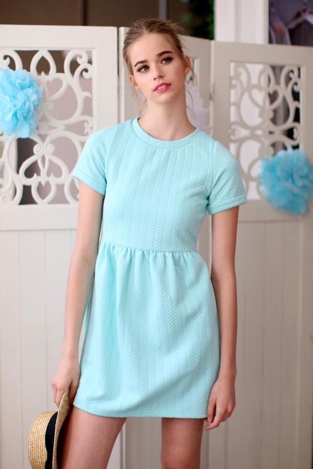 TSW Wonderland Textured Babydoll Dress in Mint (L)