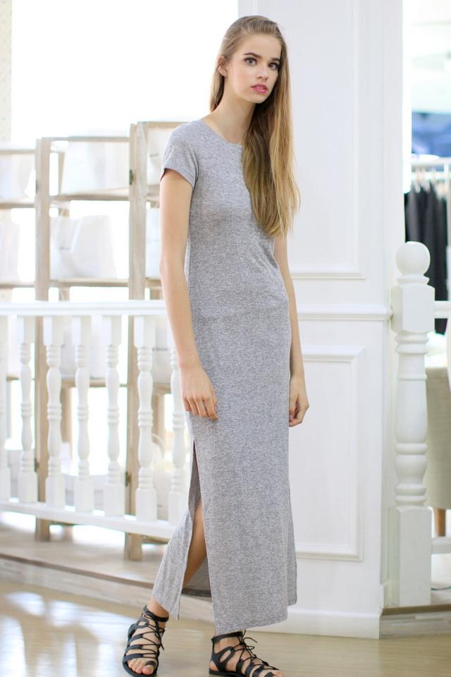 TSW Enchanted Jersey Slit Maxi Dress in Heather Grey (XL)