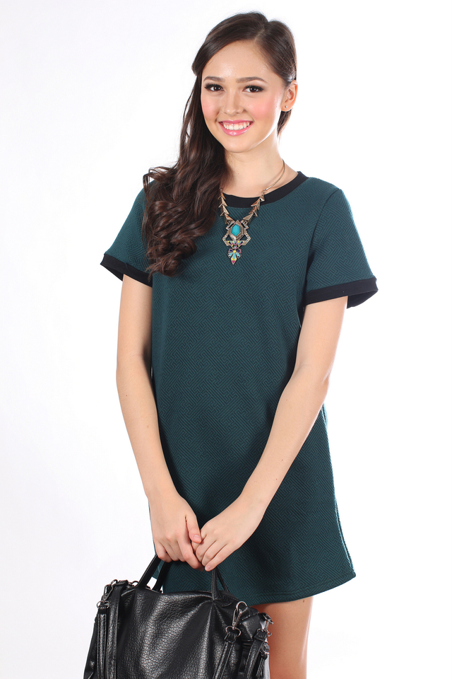 TSW Stanford Textured Shift Dress in Forest Green (XS)