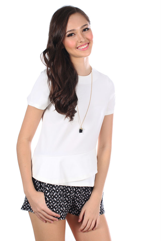 TSW Raine Double Side Tiered Top in White