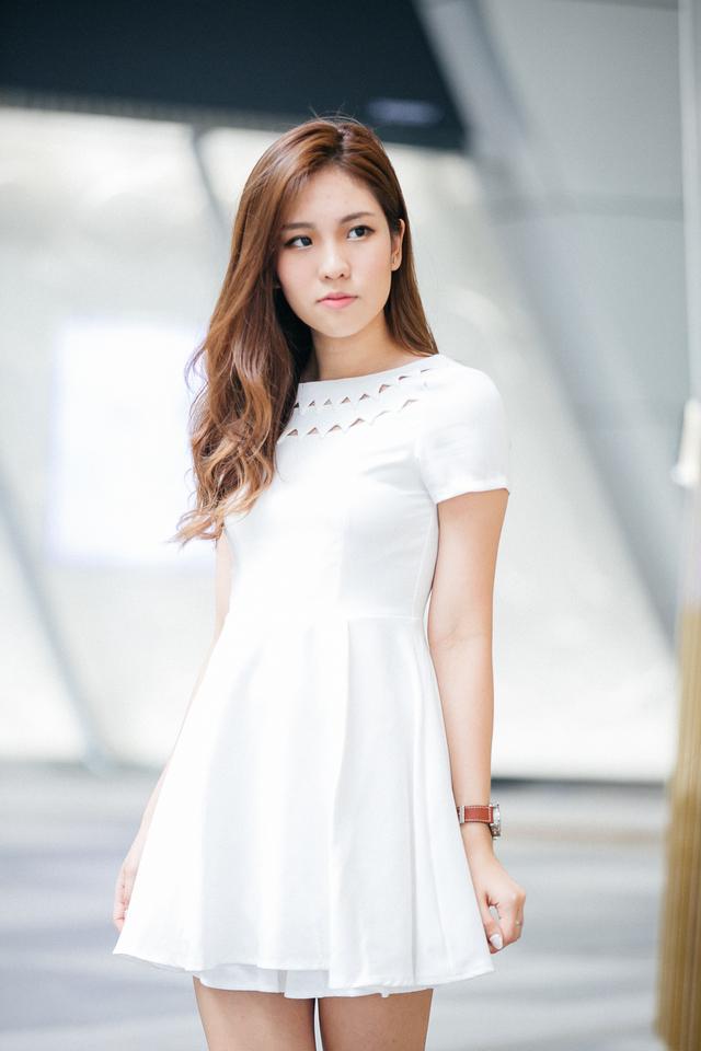 TSW Uptown Cut Out Neckline Dress in White