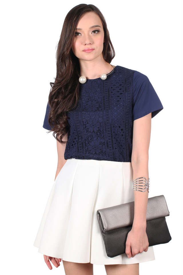 TSW Gypsy Lace Overlay Front Top in Navy