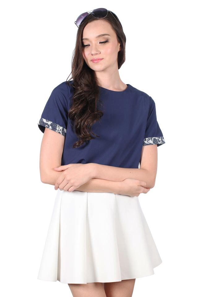 TSW Kara Embroidery Sleeve Hem Top in Navy (XS)
