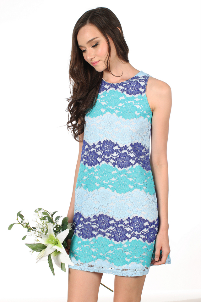 TSW Chancy Paneled Lace Dress in Ombre Blue (XS)