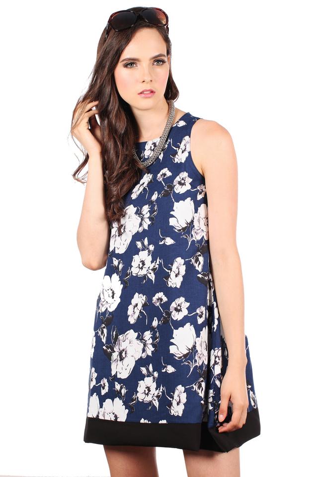 TSW Spring Floral Reversible Dress in Black Hem (L)