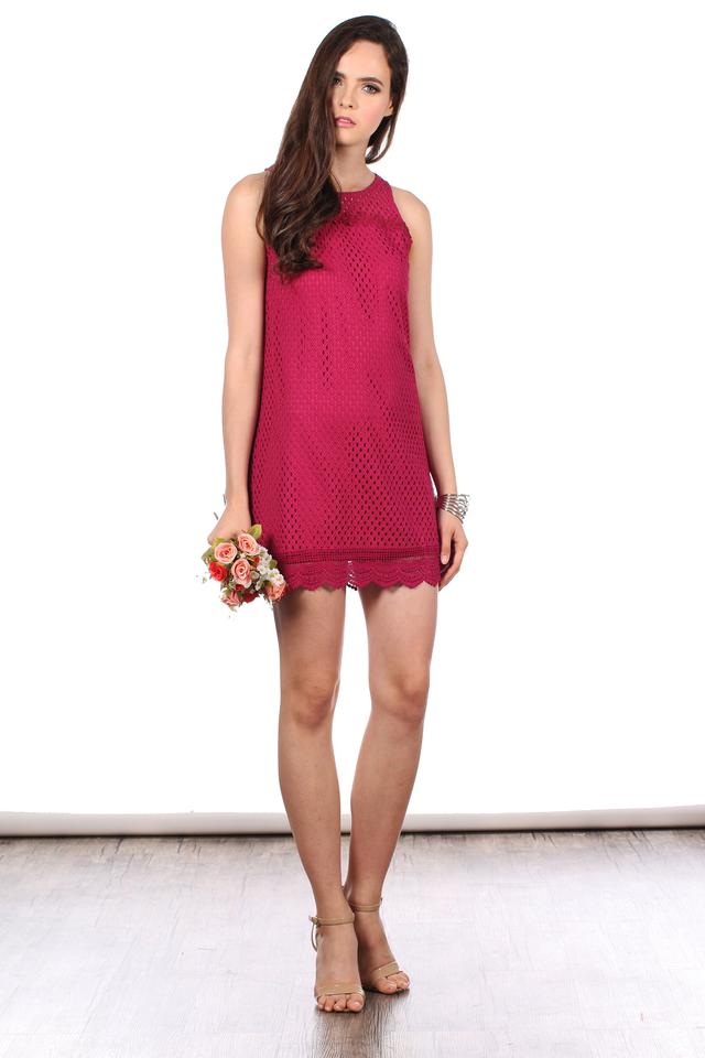 TSW Swanlake Crochet Flare Dress in Raspberry (L)