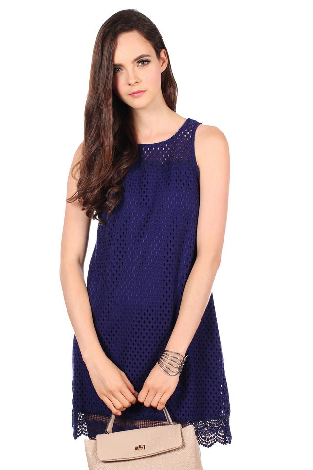 TSW Swanlake Crochet Flare Dress in Midnight Blue (XL)