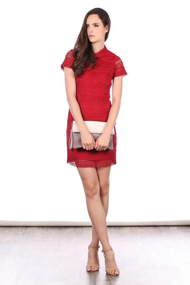TSW Modern Peony QiPao Dress in Deep Red