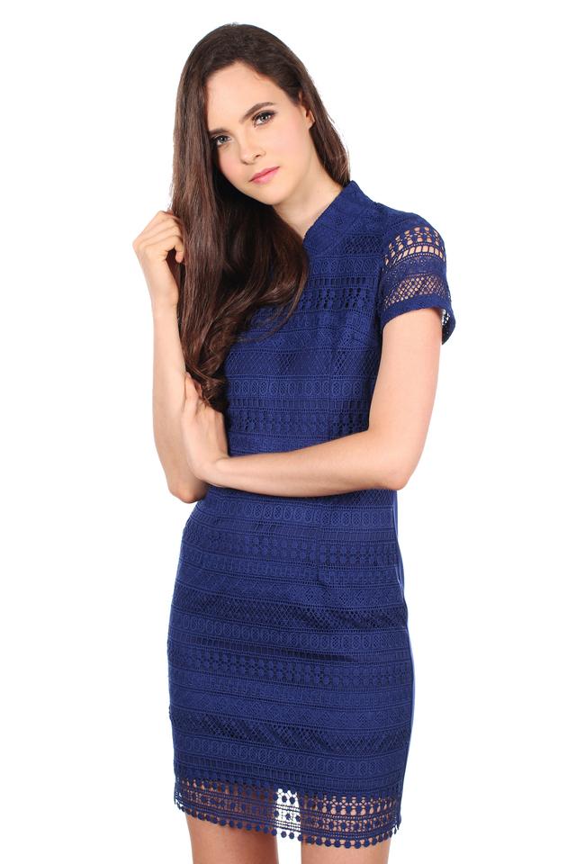 TSW Modern Peony QiPao Dress in Midnight Blue