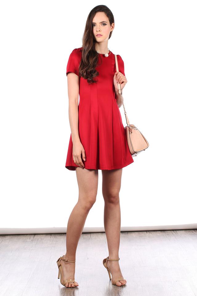TSW Perrie Panel Neoprene Dress in Deep Red