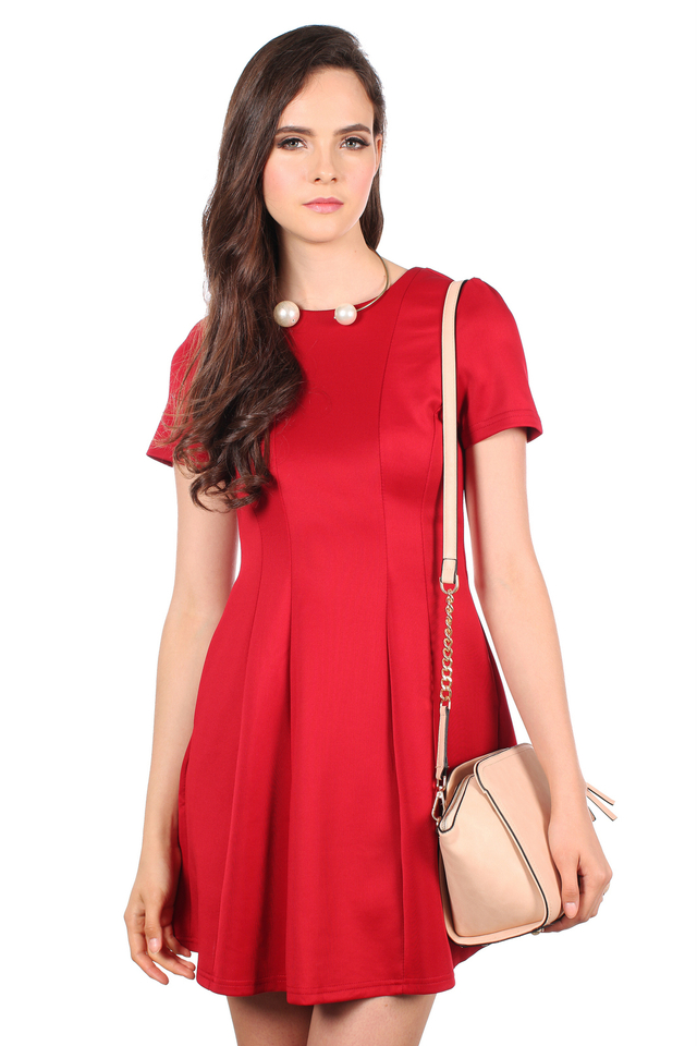 TSW Perrie Panel Neoprene Dress in Deep Red