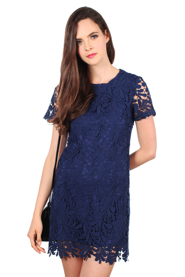 *RESTOCK* TSW Poet Crochet Dress in Navy Blue (S)