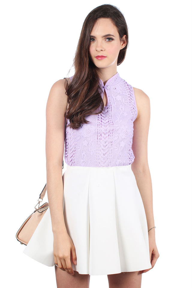 TSW Chantilly Crochet Cheongsam Top in Lilac (L)