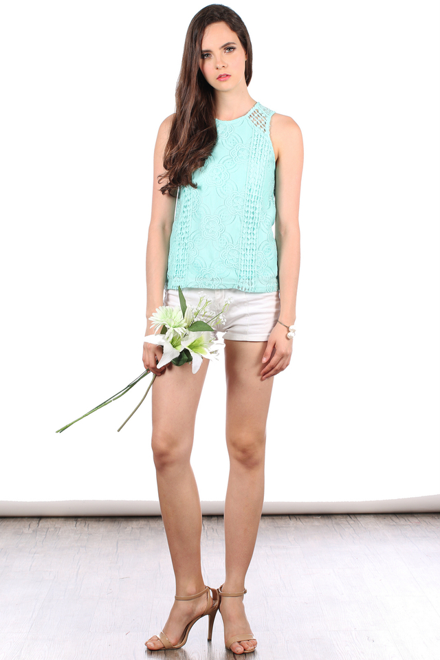 TSW Poppies Lace Top in Tiffany