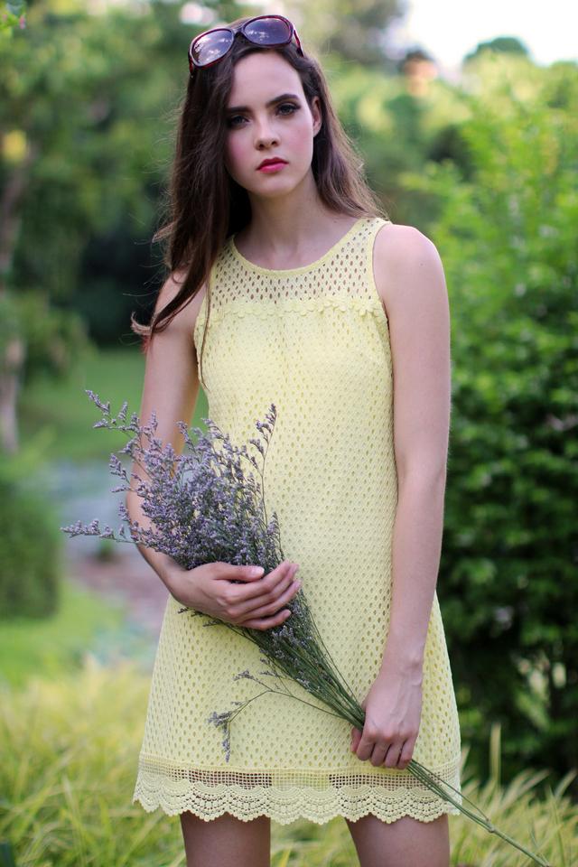 TSW Swanlake Crochet Flare Dress in Sunshine
