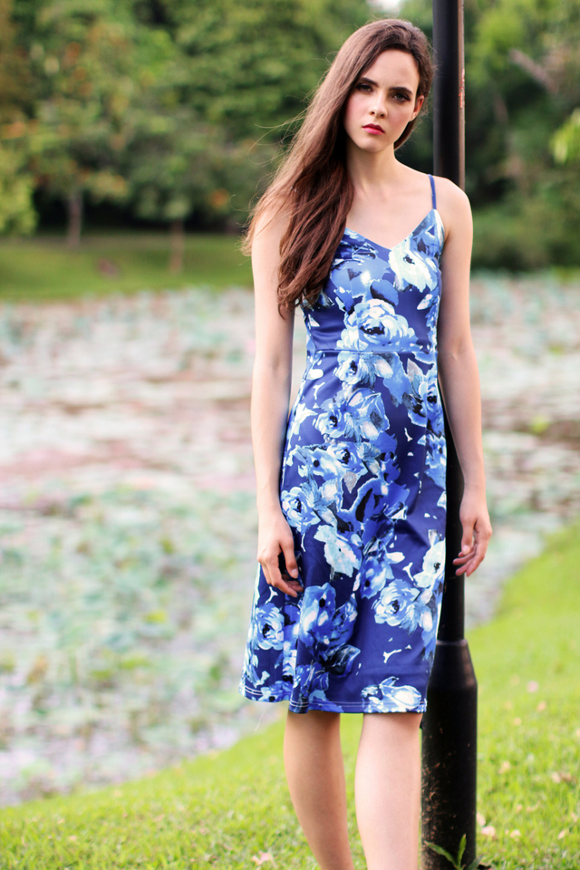 TSW Peony Neoprene Midi Dress in Blue