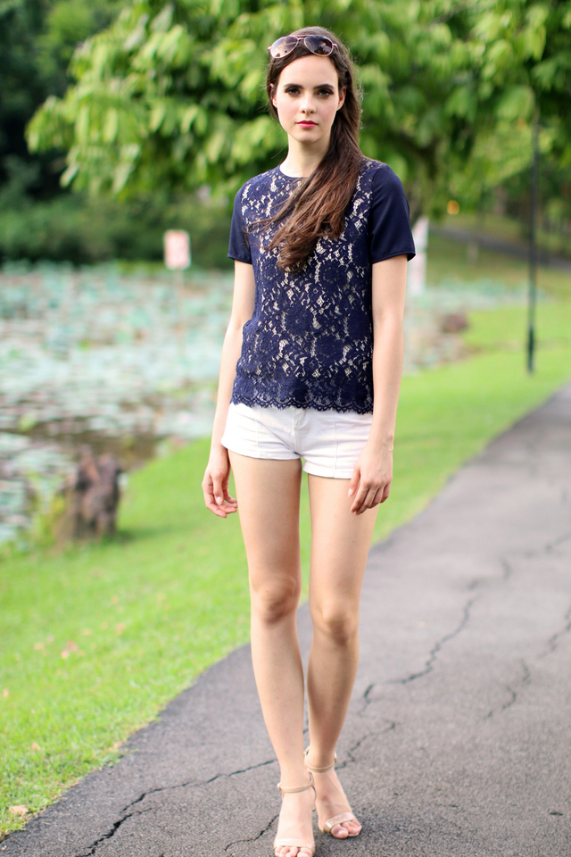 TSW Fleur Charming Lace Top in Navy Blue (XS)
