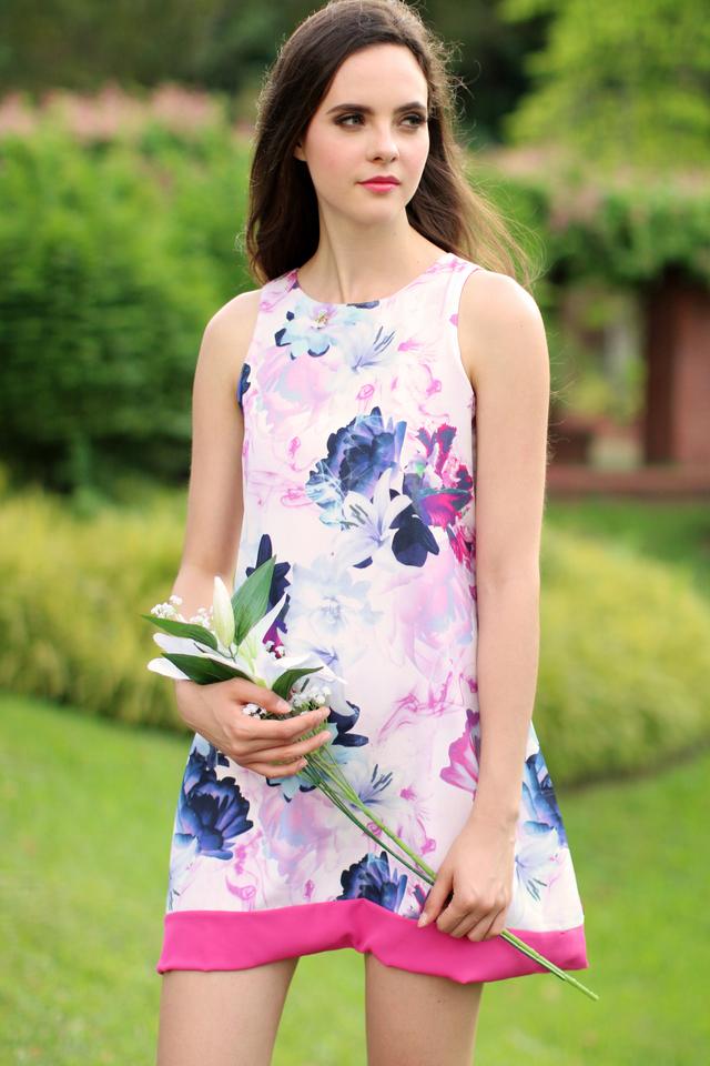 TSW Spring Floral Reversible Dress in Hot Pink Hem (XL)