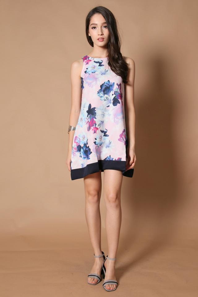 *RESTOCK* TSW Spring Floral Reversible Dress in Navy Blue Hem