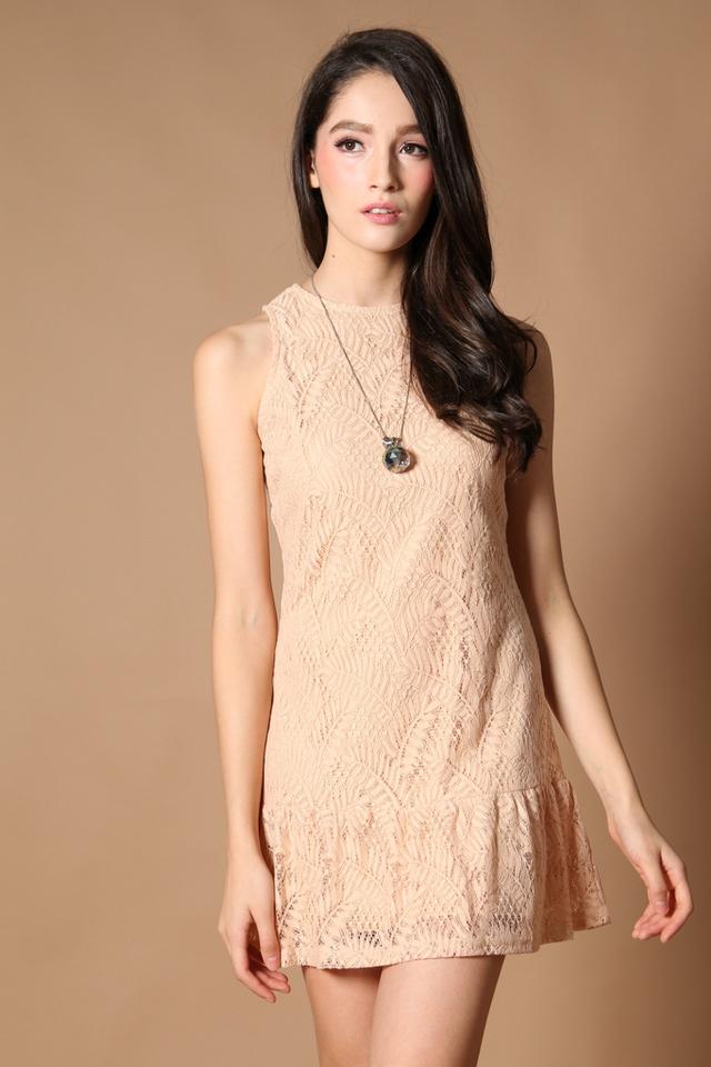 TSW Raine Drop Waist Dress in Nude (L)