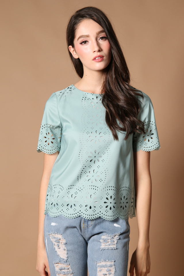 TSW Scallop Laser Cut Top in Muted Mint