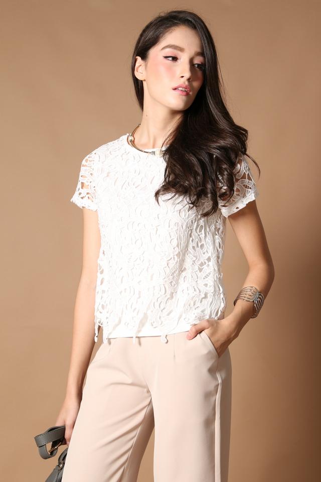 TSW Lilia Crochet Box Top In White (S)
