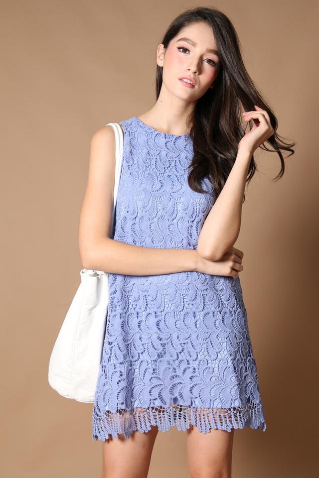 TSW Ciara Scallop Edge Dress in Periwinkle
