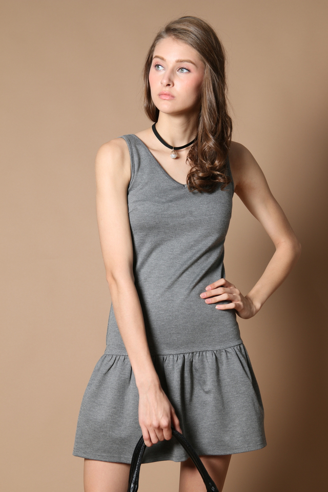 TSW Georgie Drop Waist Dress in Grey (XS)