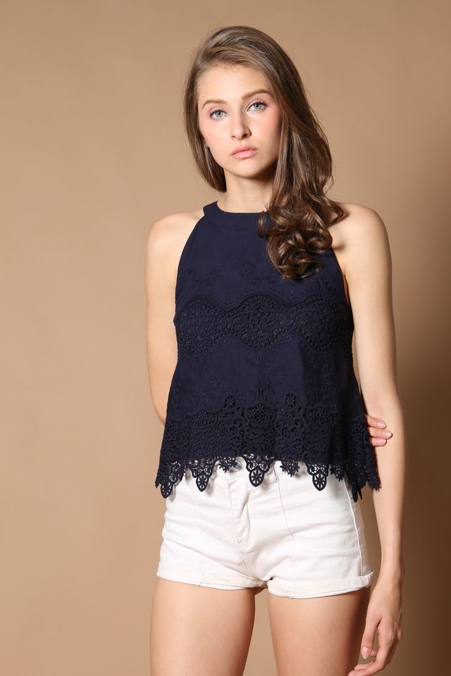 TSW Leah Eyelet Top in Navy