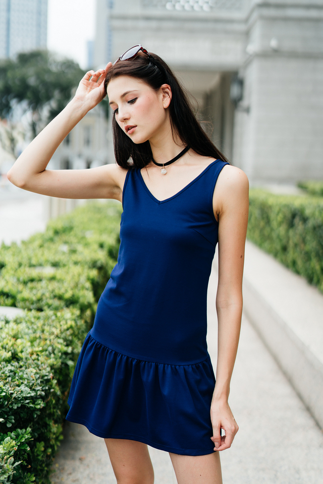 TSW Georgie Drop Waist Dress in Navy