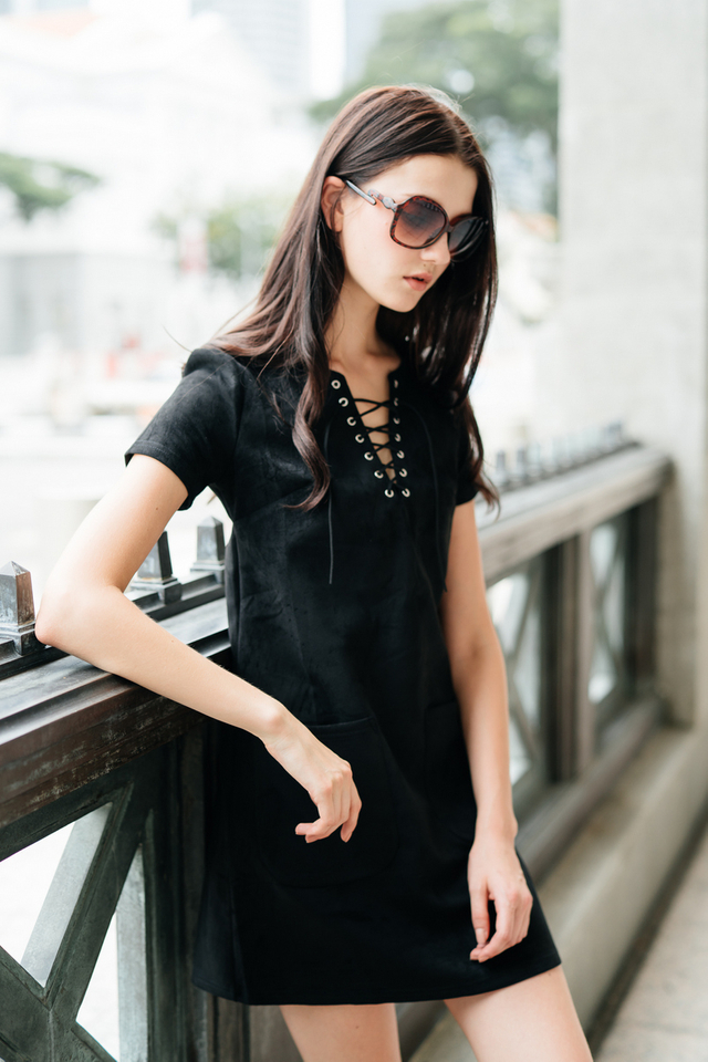 TSW Brooklyn Tie Lace Suede Dress in Black