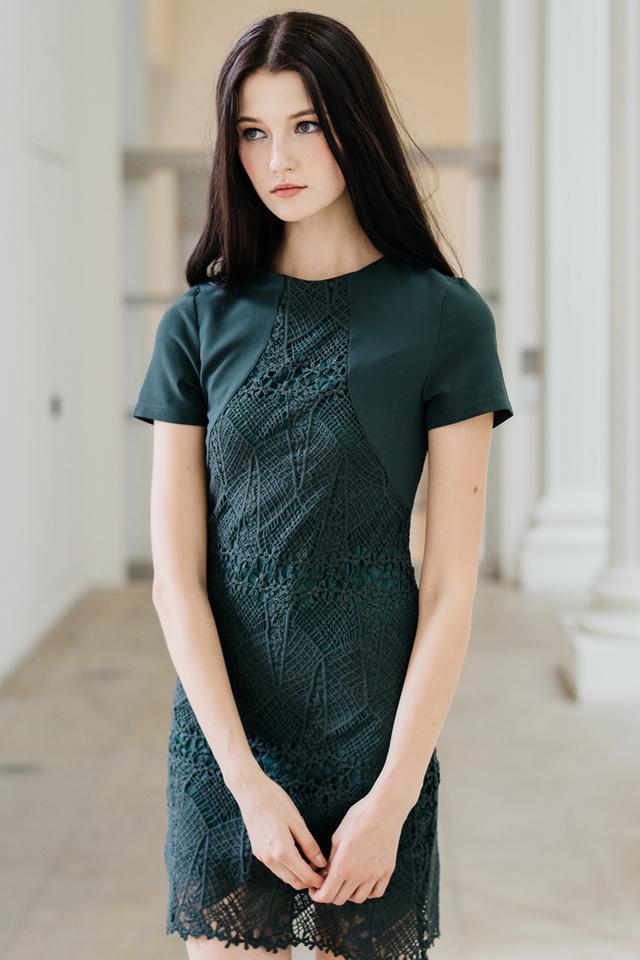 Carlyn Crochet Panel Dress in Forest