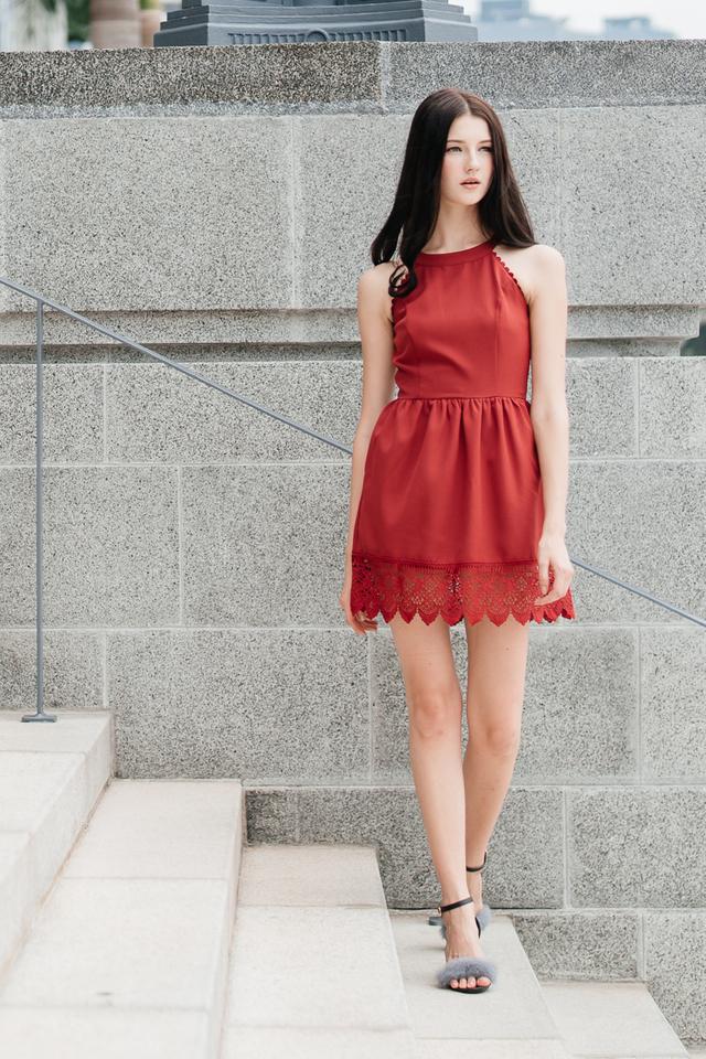 Kimberly Crochet Hem Dress in Wine Red
