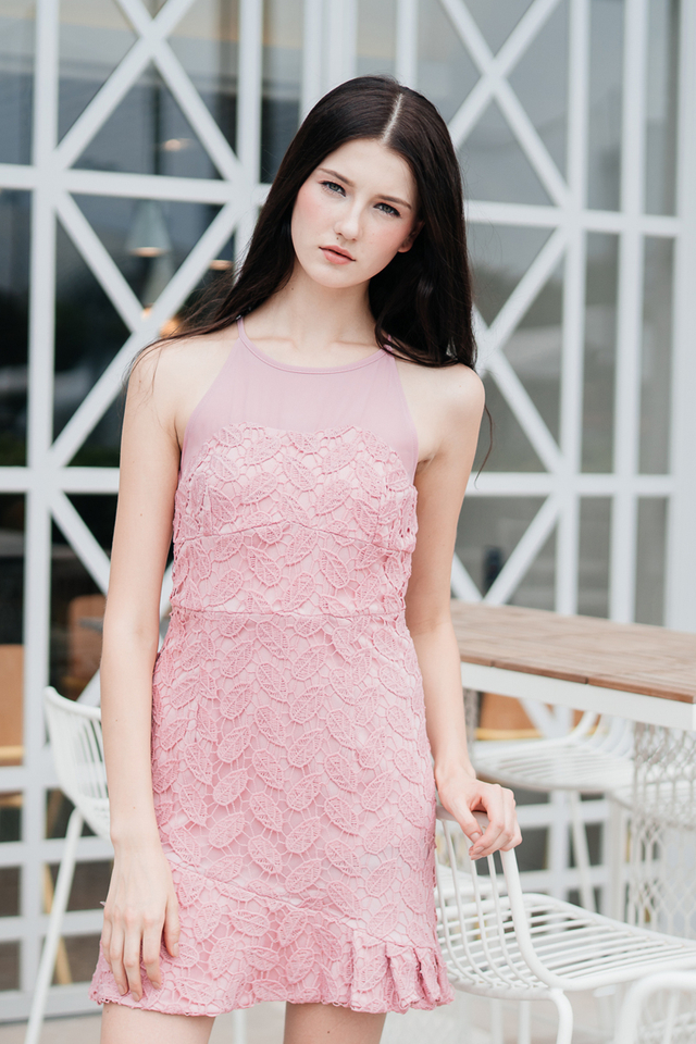 Cornelia Crochet Drop Waist Dress in Pink (L)