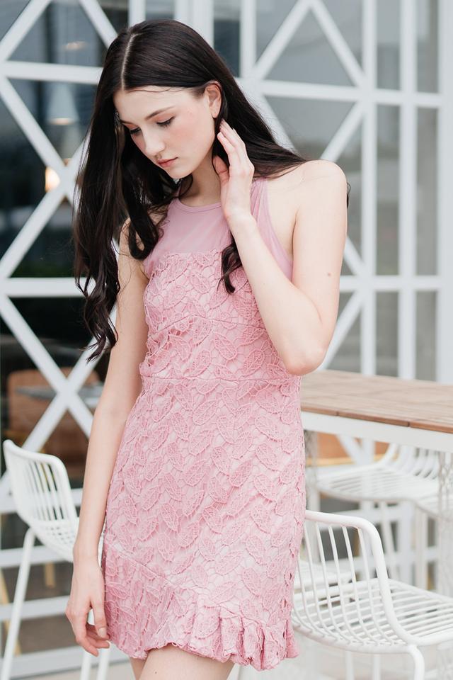 Cornelia Crochet Drop Waist Dress in Pink (L)