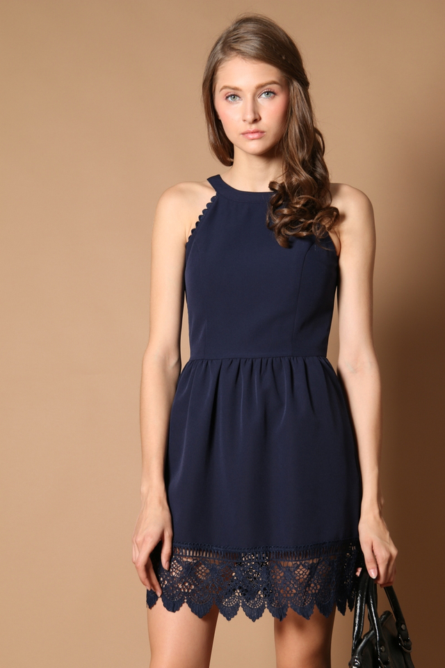 Kimberly Crochet Hem Dress in Navy (XS)