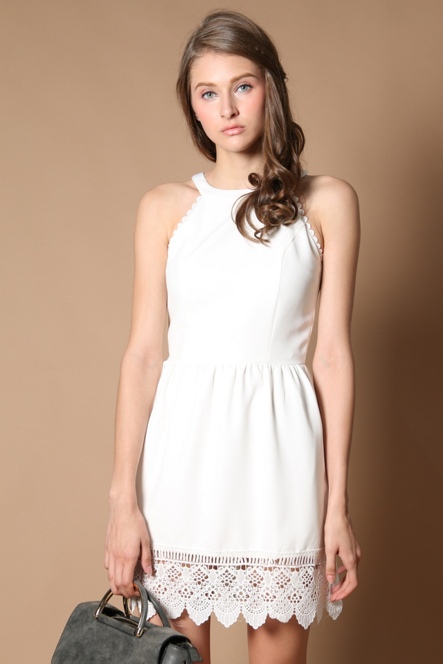 Kimberly Crochet Hem Dress in White